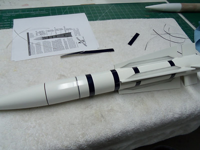 First round of decals. the ones you see on the rocket came in the Scale Models kit.