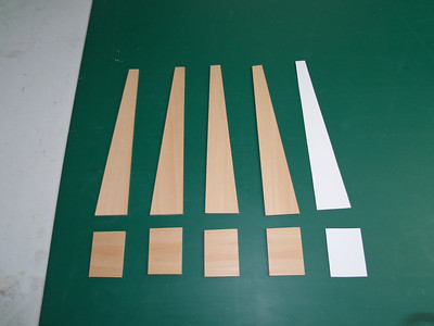There were no instructions with the kit. Thats OK. Using the patterns (right) I cut out the bass wood fins.