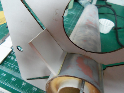 Here the lower set of fins are starting to be installed.