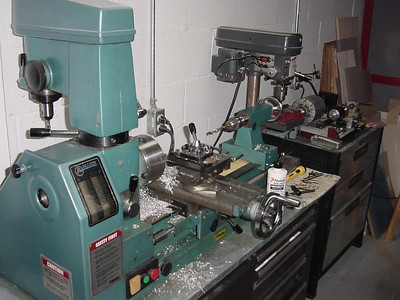 This is my Smithy, 10-cent drill press and micro lathe.. Sorry about the mess. Still have to clean up after the ejection cans.