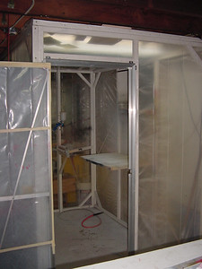 Well.. all I could do tonight was some epoxy work so not much to show..  kowing this I thought I would snap a few pics of the shop..  This is my spray booth.. Its a walk in 5X8. Next time I would do a down draft. I have about 150 bucks into this setup less spary eqip.