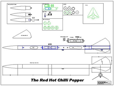 The Red Hot Chilli Pepper is a duel depoy rocket designed around plotter paper center tubes and a 29mm motor mount.  Features: Carbon Fiber Fins PerfictFlight Stratologger SL100 All air frame parts will be scratch built.
