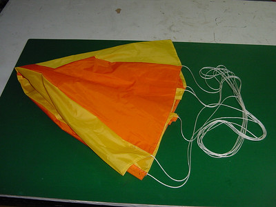 """Here is the parachute. Its around 30"""" dia and made from Ripstop Nylon. Im really having fun making this stuff."""