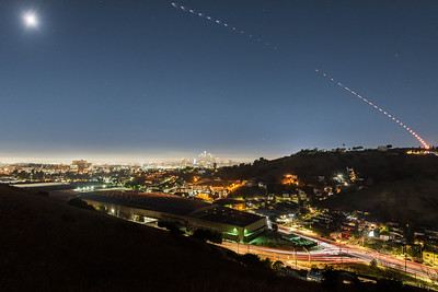 SpaceX Falcon9 sequence over Los Angeles launching from Vandenberg Space Force Base