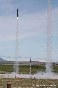 Ken Tsai's rocket is soon followed by Dave and Ian Walp's rockets.
