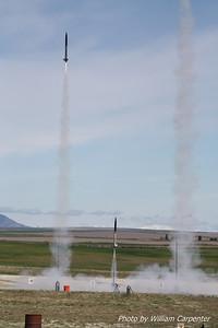 Ken Tsai's rocket is soon followed by Dave and Ian Walp's rockets.
