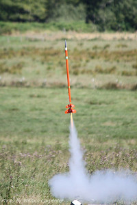 An Estes Comanche III (well, II) lifts off for a two-stage flight.