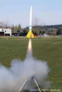 A test flight of a FITS night launch rocket.