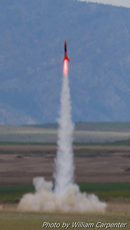 """Alpha VII"", an upscaled Estes Alpha III, launches from the away cell."