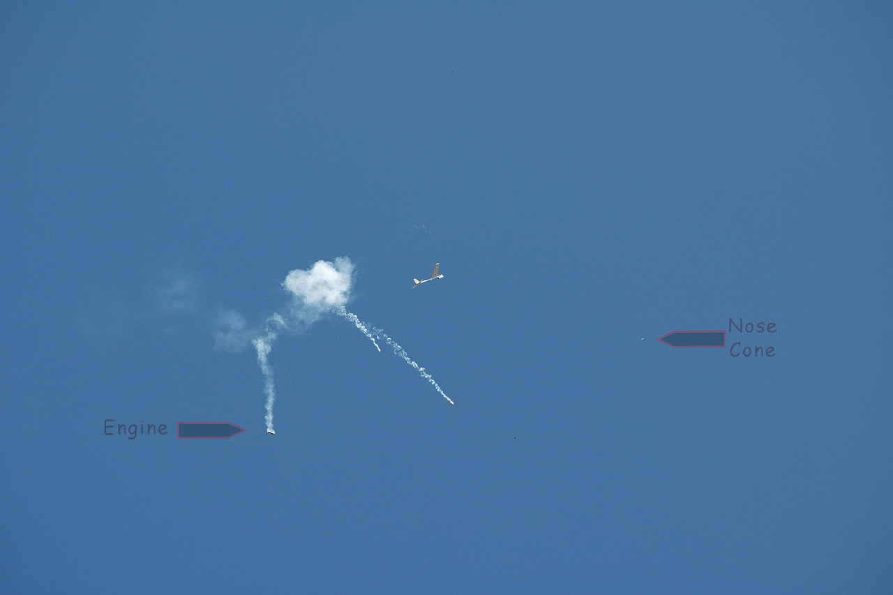 Boost glider, just after motor ejection.<br /> (engine visible)