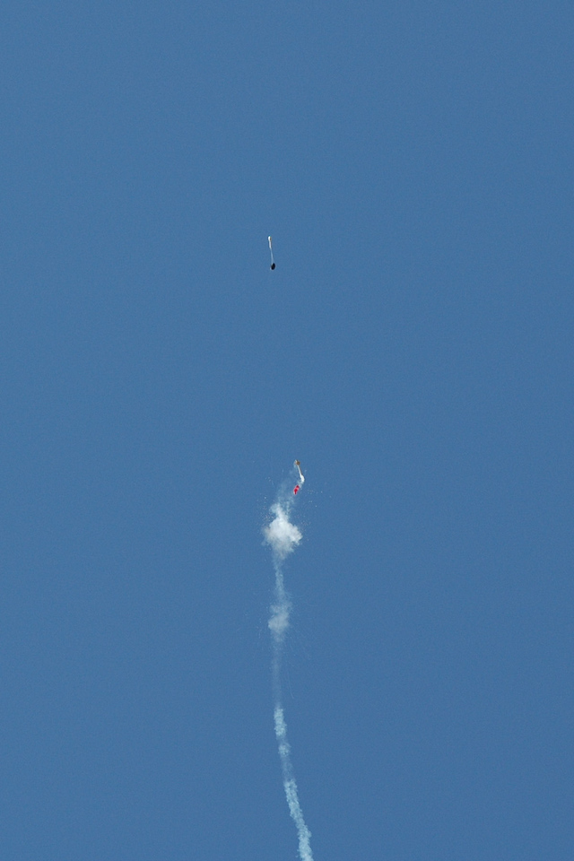 Successful deployment. Note the distance the payload is flung, most likely because the rocket was still ascending at deployment.
