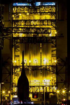 Silhouetted Orion Arrives at the Pad