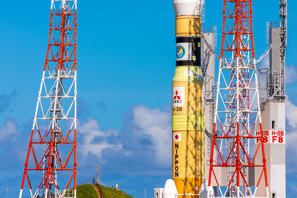 H-IIB rocket carrying the HTV-8 resupply vehicle rolls out to the launch pad 2 at the Tanegashima Space Center in Japan