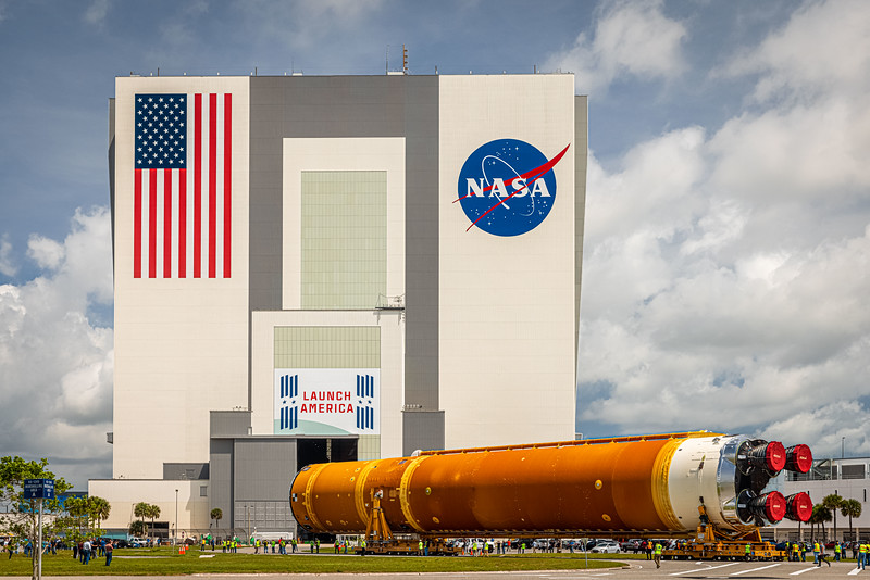 Arrival. NASA's Space Launch System rolling up to the VAB at Kennedy Space Center in Florida on April 29th, 2021.