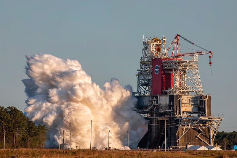 At 4:27pm central time, the SLS rocket core stage ignited its four RS-25 engines at NASA's Stennis Space Center. The test was to last up to eight minutes.