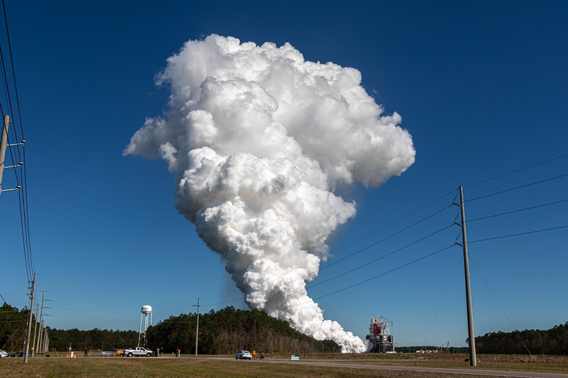 During a second attempt, the SLS Core Stage fires for a full 8 minutes at Stennis Space Center in Mississippi.