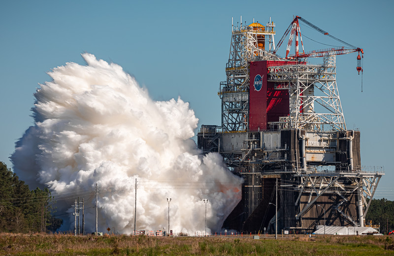 Ignition, the SLS Core Stage ignites, beginning a nominal full-duration hotfire test.