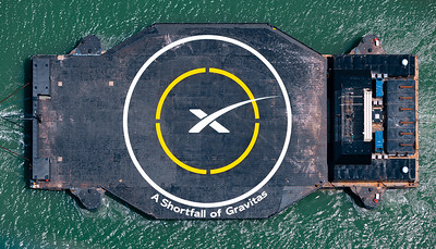 Aerial view overtop SpaceX's new droneship, A Shortfall of Gravitas, arriving to Cape Canaveral.