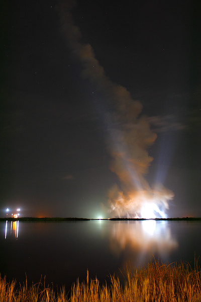 It was all over in less than an minute, but it was an intense and memorable minute. Here the plume lingers over the launch pad, still lit by the xenon lights.