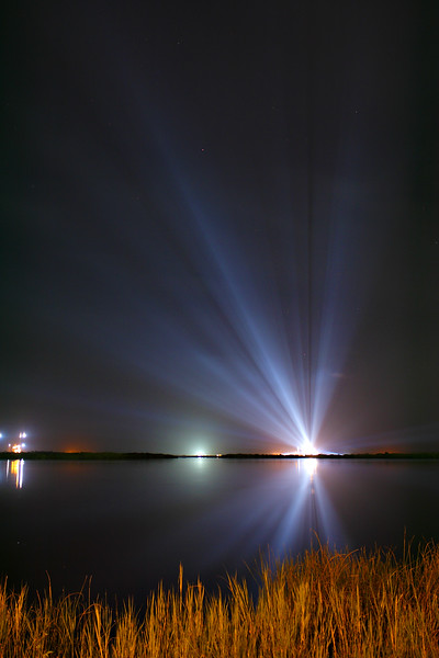 A vertically oriented version of the last shot, demonstrating the height of the rays thrown by the xenon lights.