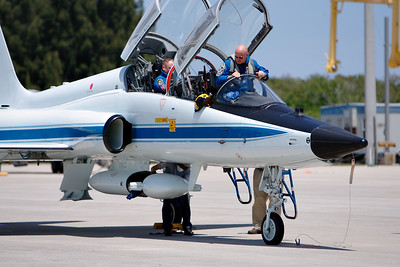 Tuesday, April 26 - Commander Mark Kelly climbs from his T-38.