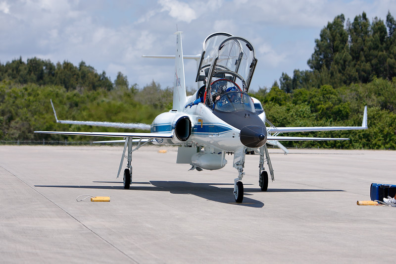 Tuesday, April 26 - The crew parks and prepares to exit their T-38 aircraft.