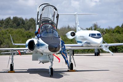 Tuesday, April 26 - A NASA T-38 Talon and Shuttle Training Aircraft in the background at the Shuttle Landing Facility (SLF).
