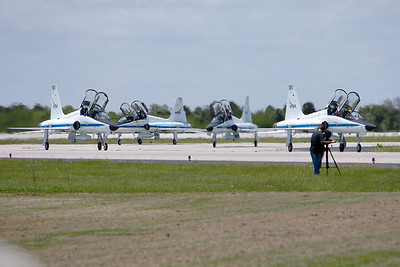 Tuesday, April 26 - Finally, the four NASA T-38 Talons carrying the shuttle crew arrive at the SLF.