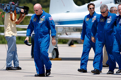 Tuesday, April 26 - The crew of STS-134 prepares to address the media.