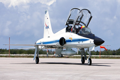 Tuesday, April 26 - A leading NASA T-38 Talon arrives at the Shuttle Landing Facility (SLF) ahead of the astronauts.