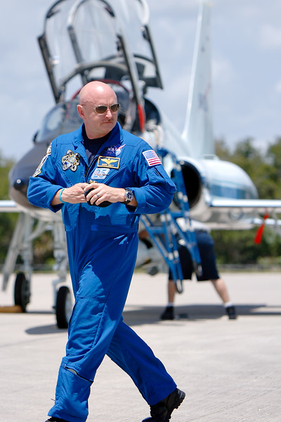 Tuesday, April 26 - Commander Mark Kelly approaches the gathered media at the Shuttle Landing Facility.
