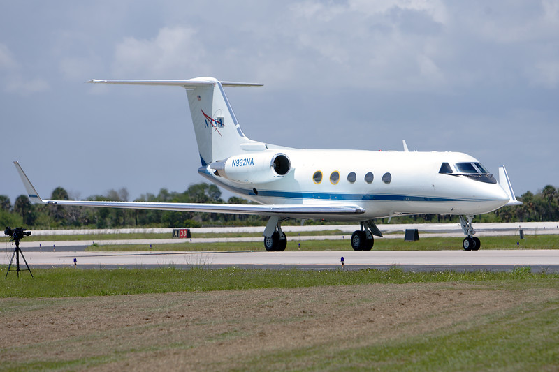 Tuesday, April 26 - One of NASA's Shuttle Training Aircraft arrives ahead of the astronauts at the SLF.