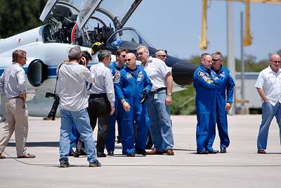 Tuesday, April 26 - The crew of STS-134 reconvenes with other NASA staff on the tarmac before addressing the media.