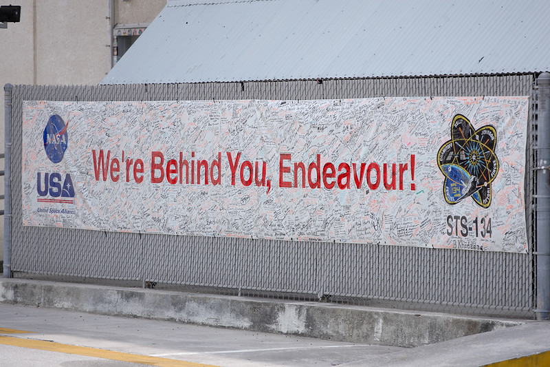 Friday, April 29 - This banner supporting <i>Endeavour</i> on her final flight was signed by the scores of NASA employees and contractors working on the mission.