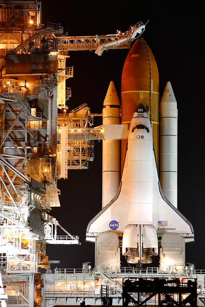 Friday, April 29 - Space Shuttle <i>Endeavour</i> on the pad.
