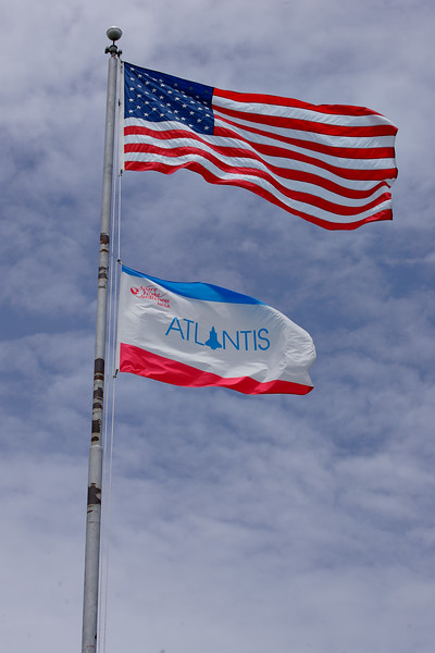 <i>Atlantis</i>' flag at the Press Site.