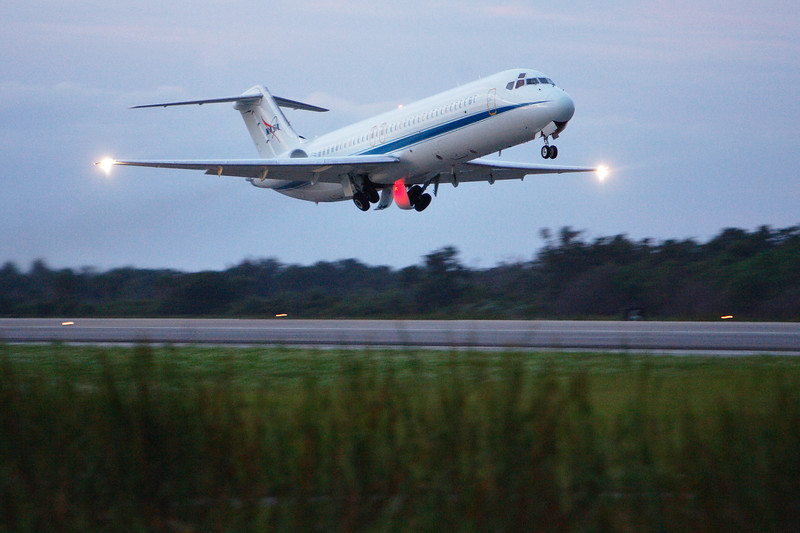 The C-9 Pathfinder takes off first. As the name implies, the Pathfinder's role is to find routes of safe passage through weather systems.