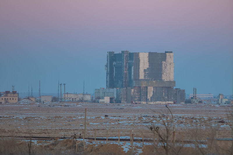 The Buran Project Hangar at sunrise in Baikonur, Kazakhstan on December 15th, 2017. (Photo Credit: Trevor Mahlmann)