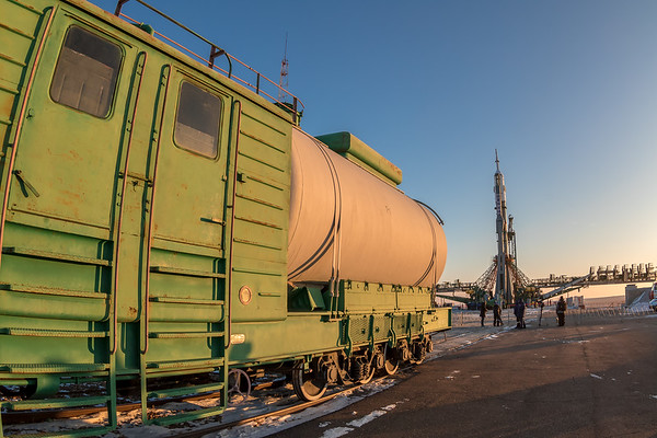 The Soyuz MS-07 rocket stands vertical at the launch complex (Gagarin's Start) at sunrise in Baikonur, Kazakhstan on December 15th, 2017. (Photo Credit: Trevor Mahlmann)