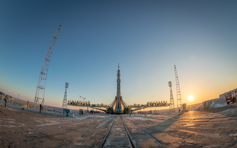 The Soyuz MS-07 rocket stands vertical at the launch complex (Gagarin's Start) at sunrise in Baikonur, Kazakhstan on December 15th, 2017. (Photo Credit: Trevor Mahlmann) vertical at the launch complex (Gagarin's Start) at sunrise in Baikonur, Kazakhstan on December 15th, 2017. (Photo Credit: Trevor Mahlmann)