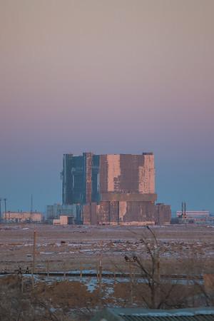 The Buran Project Hangar at sunrise in Baikonur, Kazakhstan on December 15th, 2017. (Photo Credit: Trevor Mahlmann)