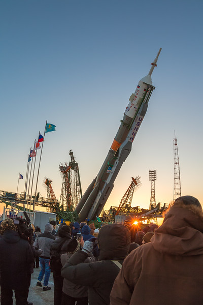 Members of the Expedition 54/55 crew's family and friends watch the Soyuz MS-07 rocket lifting to vertical at the launch complex (Gagarin's Start) at sunrise in Baikonur, Kazakhstan on December 15th, 2017. (Photo Credit: Trevor Mahlmann)