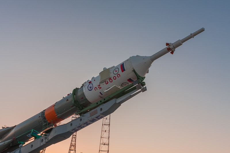 The Soyuz MS-07 rocket lifting to vertical at the launch complex (Gagarin's Start) at sunrise in Baikonur, Kazakhstan on December 15th, 2017. (Photo Credit: Trevor Mahlmann)
