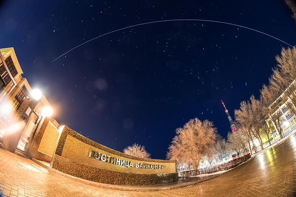 The International Space Station flies over the Baikonur and Cosmonaut Hotels in Baikonur, Kazakhstan on December 14th, 2017. (Photo Credit: Trevor Mahlmann)