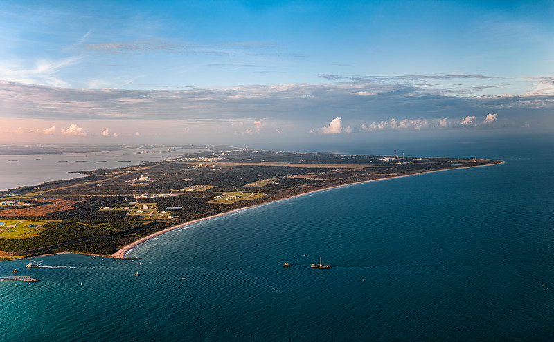88.7 megapixel panorama looking north over Cape Canaveral Air Force Station of a SpaceX Falcon 9 (B1058.3) entering port after landing aboard the 'Of Course I Still Love You' droneship.