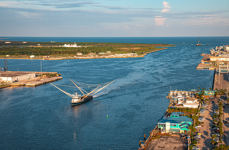 Fairing catcher ship GO Ms. Tree leading the way into Port Canaveral.