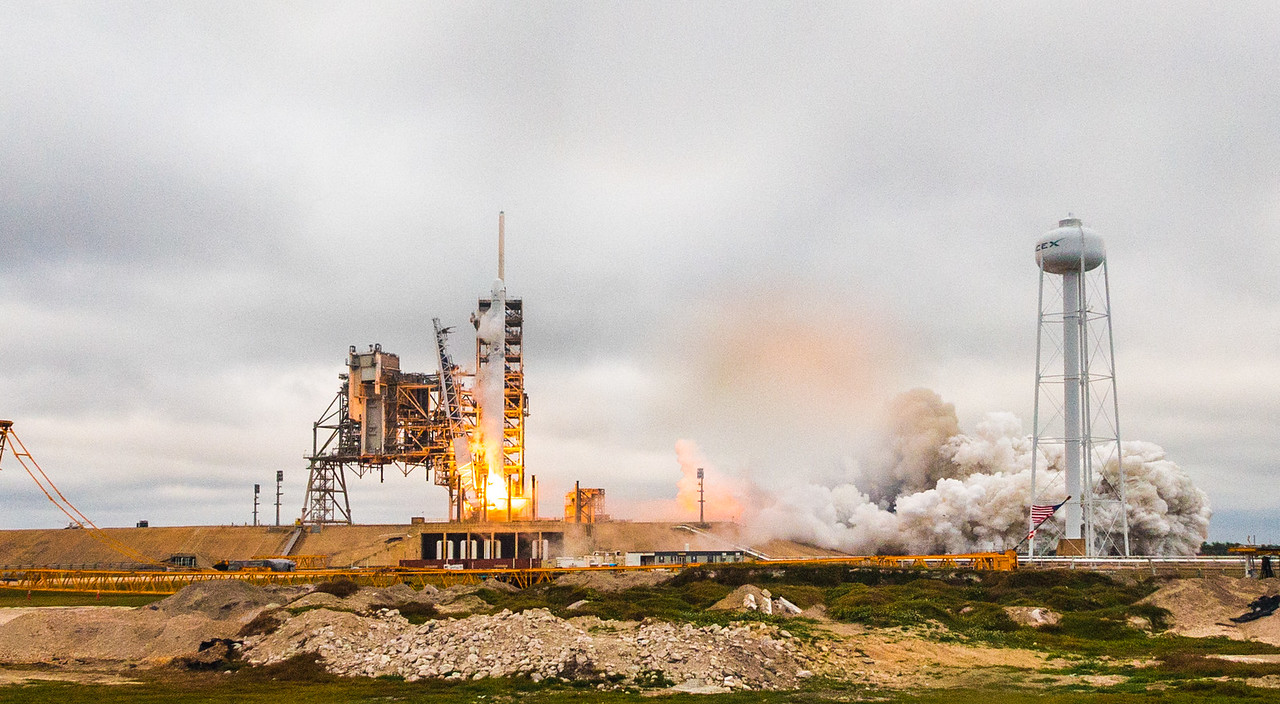 Falcon 9 launching from LC-39A for the first time, bound for the International Space Station - February 19th, 2017