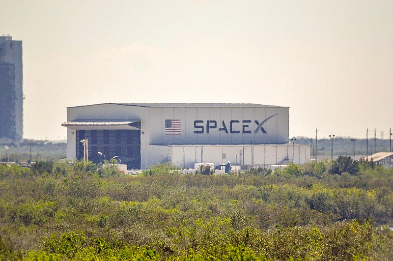 SpaceX's horizontal integration hangar at LC-39A as viewed from NASA Kennedy's LC-39B - February 16th, 2017
