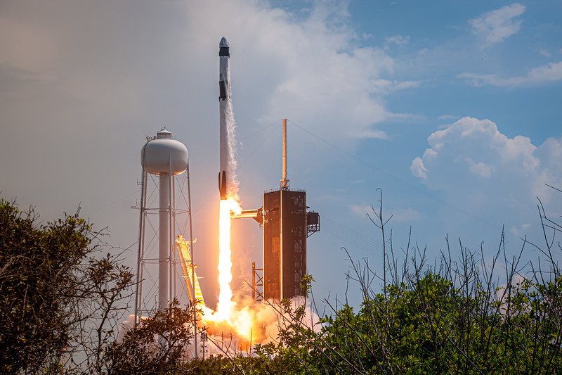 """Falcon 9 lifts off with its most important cargo to date: NASA Astronauts Bob Behnken and Doug Hurley on a test flight to put Crew Dragon (named """"Endeavor"""") through its paces before returning safely to Earth."""