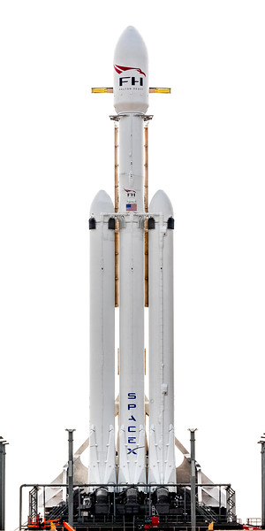 Close-up of SpaceX's Falcon Heavy standing tall on the launch pad the day before its inaugural launch.